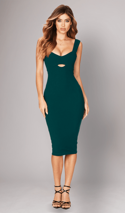 heartbreaker teal midi dress