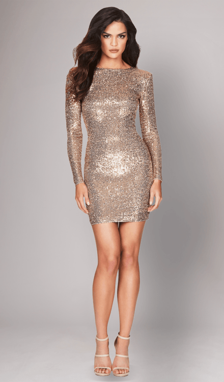 Selena Gold Sequin Dress - Nookie