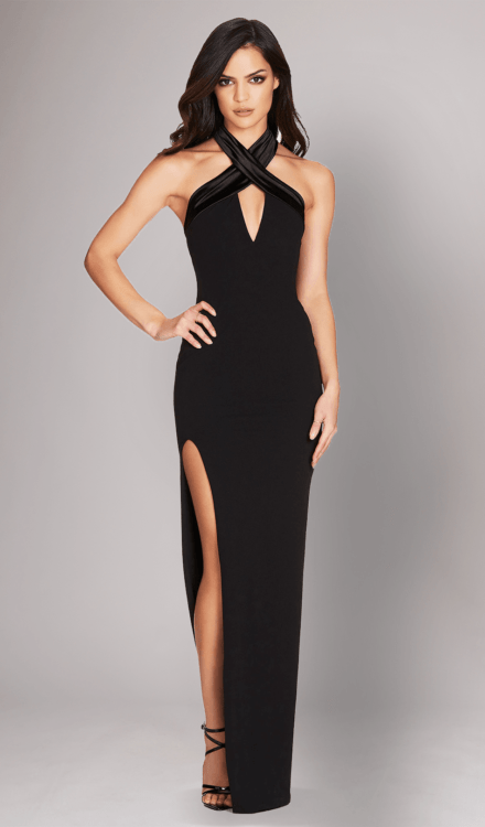 Dress Rental - Alias Halter Gown Black - Nookie