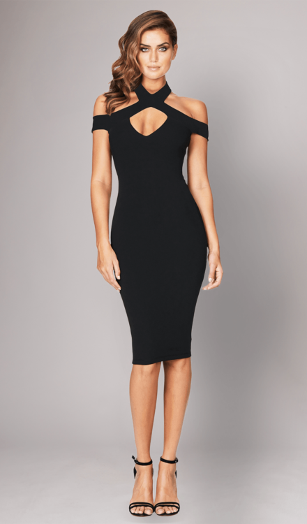 Black Hollywood Midi Dress - Nookie