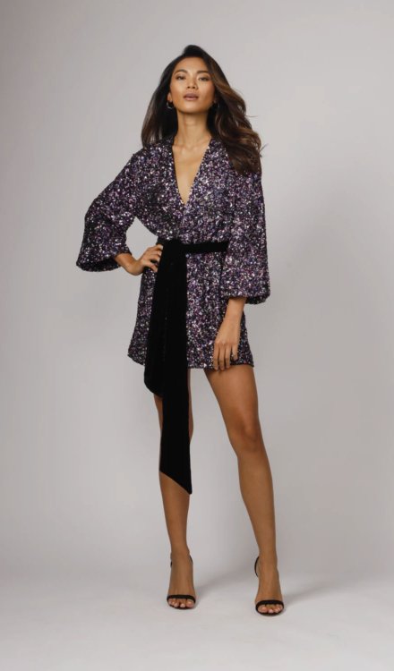 Sequin Wrap Mini Dress