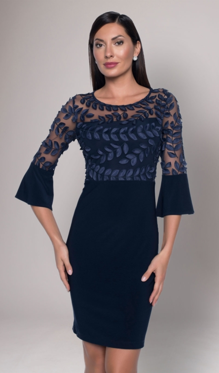 Midnight Blue Fitted Mini Dress - Frank Lyman