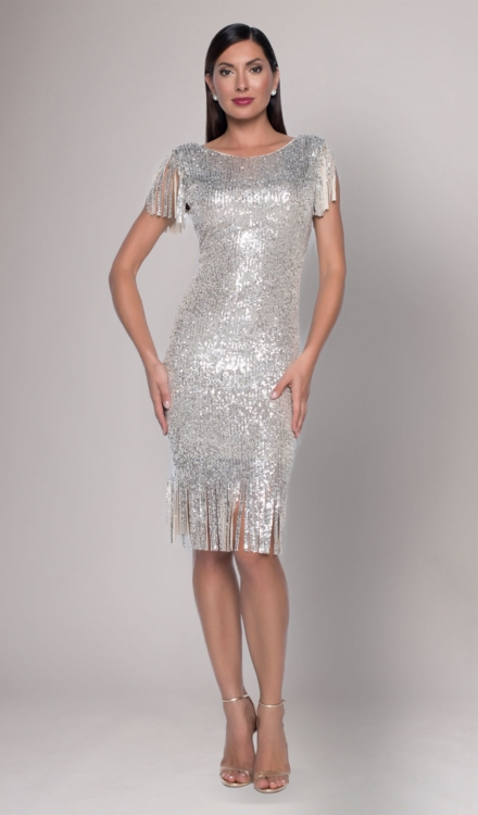 Silver Sequin Midi Dress - Frank Lyman