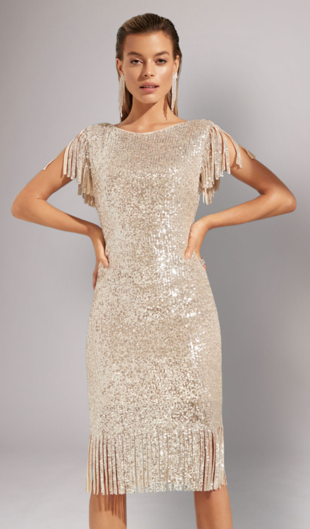 Gold Sequin Midi Dress - Frank Lyman