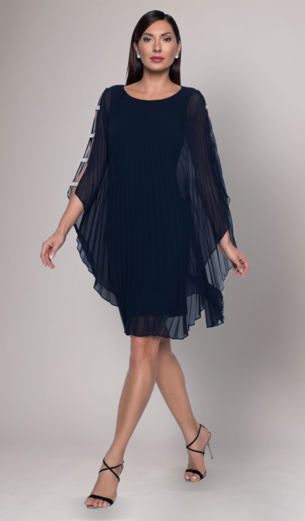 Navy Blue Ruffled Dress - Frank Lyman