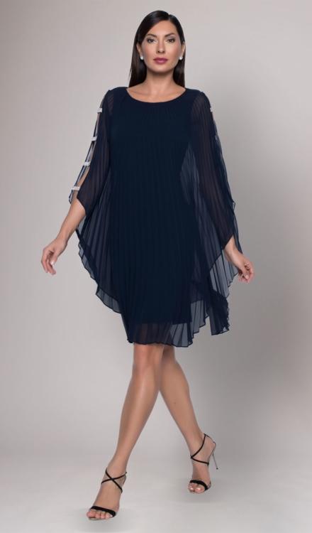 Navy Blue Ruffled Dress - Frank Lyman
