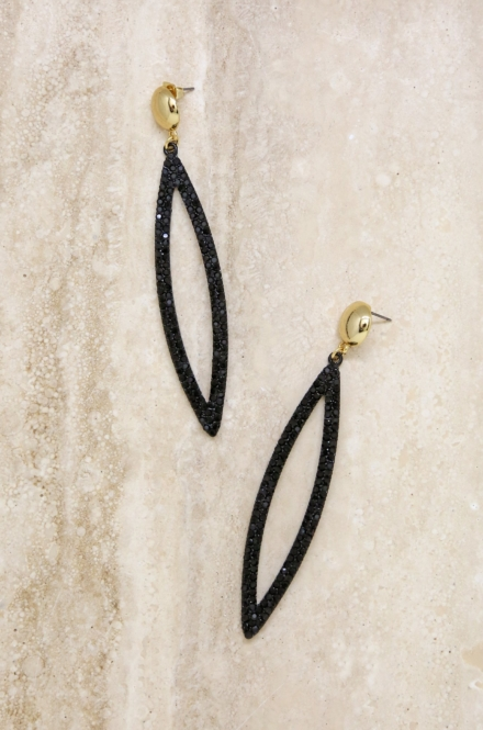 Ettika-Black Crystal Oval Drop 18k Gold Plated Earrings
