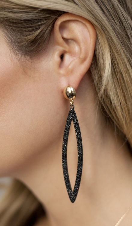 Ettika-Black Crystal Oval Drop 18k Gold Plated Earrings-Model