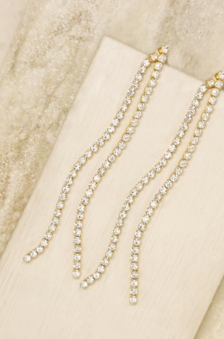 Ettika-Crystal Chain 18k Gold Plated Dangle Earrings