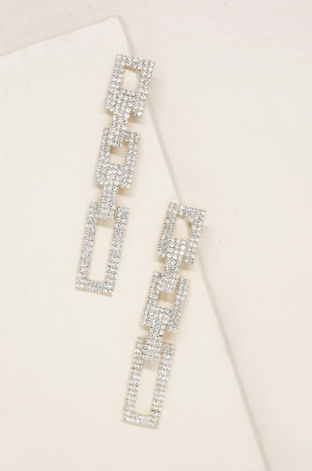 Ettika-Crystal Rectangle Chain Link 18k Gold Plated Earrings