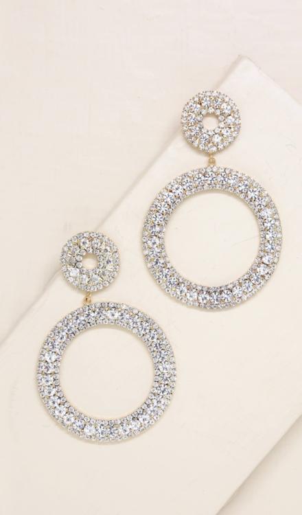 Ettika-Double Crystal Statement 18k Gold Plated Hoop Earrings