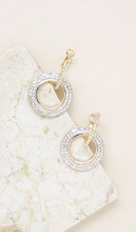 Ettika-Double Drop Crystal 18k Gold Plated Hoop Earrings