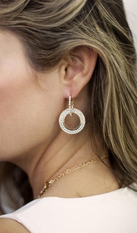 Ettika-Double Drop Crystal 18k Gold Plated Hoop Earrings-Model