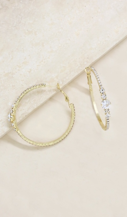 Ettika-Hollywood Forever Crystal 18k Gold Plated Hoop Earrings