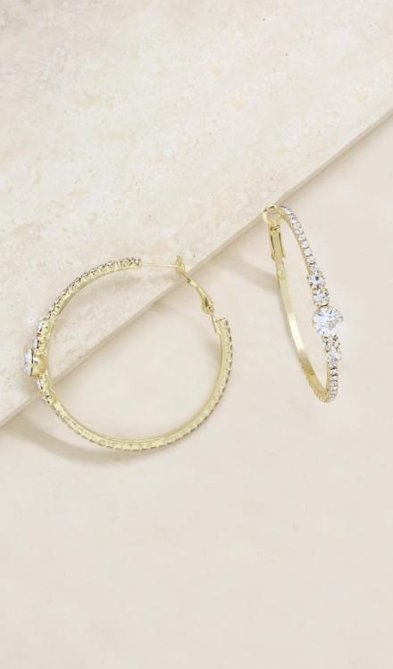Ettika-Hollywood Forever Crystal 18k Gold Plated Hoop Earrings