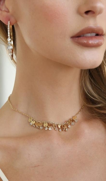 Ettika-Hollywood Forever Crystal 18k Gold Plated Hoop Earrings-Model