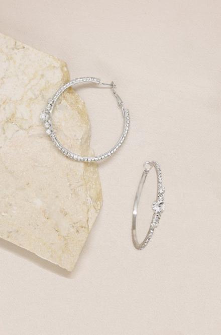 Ettika-Hollywood Forever Crystal 18k silver Plated Hoop Earrings