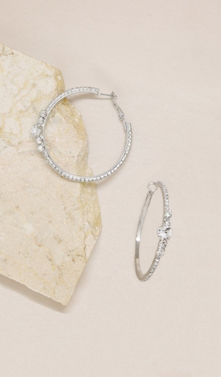 Ettika-Hollywood Forever Crystal 18k silver Plated Hoop Earrings