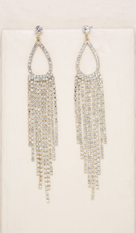Ettika-Long Teardrop Crystal Chandelier 18k Gold Plated Earrings