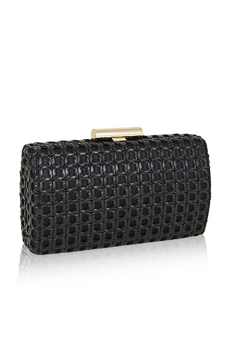 Thelma Black Woven Clutch Purse - Inge Christopher