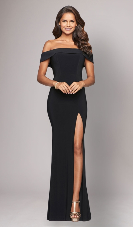 Black Off The Shoulder Gown - Faviana