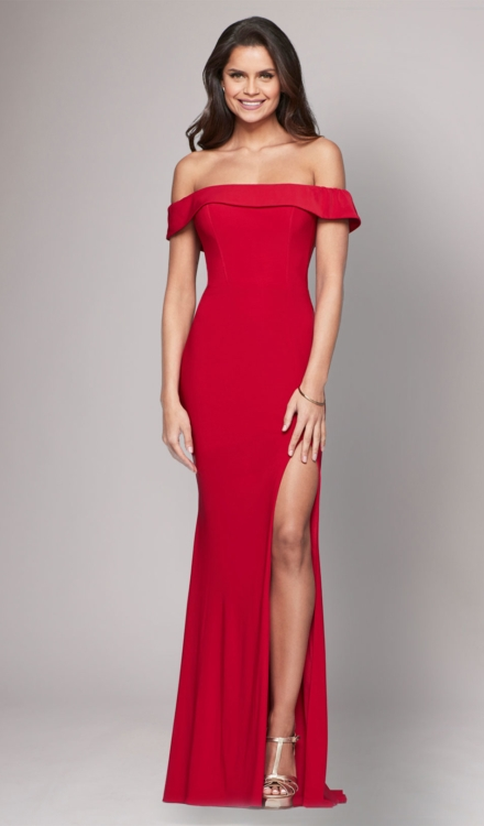 Red Off The Shoulder Gown - Faviana