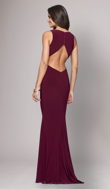 Long Jersey V Neck Gown - Faviana