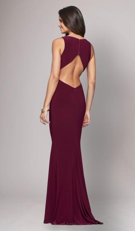 Long Jersey V Neck Gown - Faviana