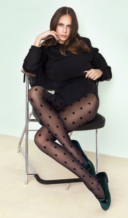 Encore Black Polka Dot Tights -Fiore