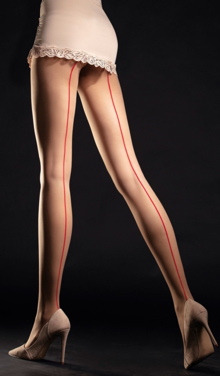 Unique Nude/Red Back Seam Tights-Fiore