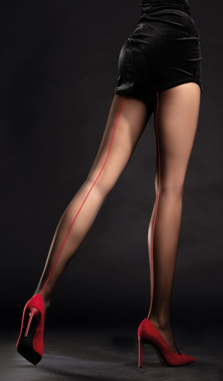 Unique Black/Red Back Seam Tights-Fiore