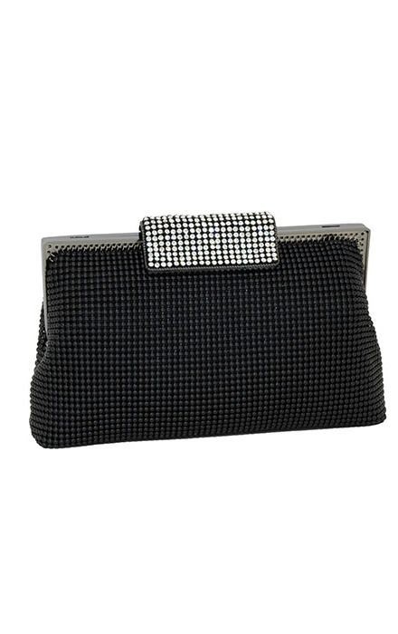 Black Crystal Clasp Clutch - Whiting & Davis