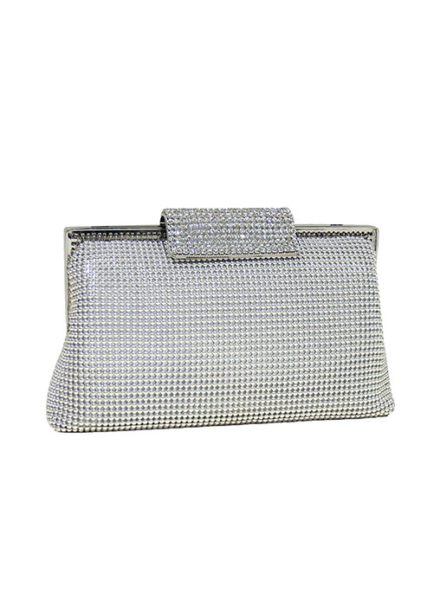 Silver Crystal Clasp Clutch - Whiting & Davis