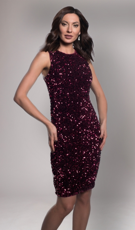 Burgundy Sequin Mini Dress- Frank Lyman