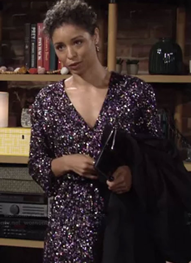 Jay-Godfrey-Polly-Sequin-Long-Sleeve-Mini-Wrap-Dress-Brytni-Sarpy-The-Young-and-the-Restless