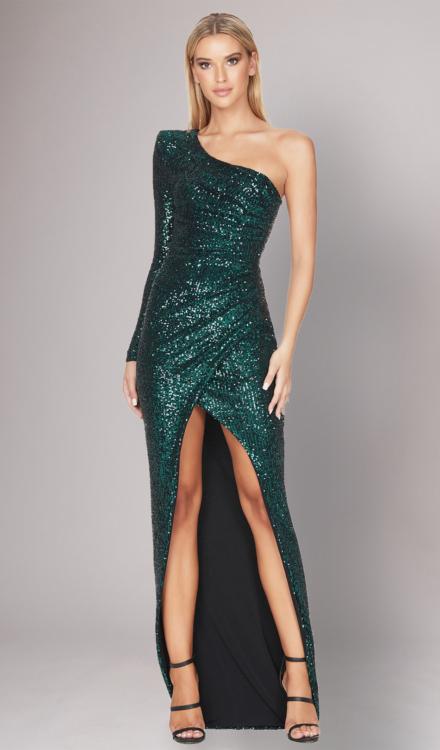 Sierra Teal Sequin Gown - Nookie- Dress Rental
