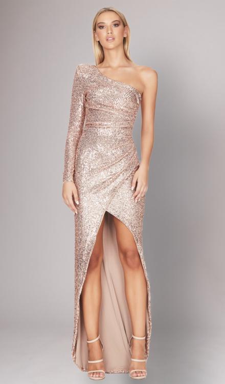 Sierra Gold Sequin Gown - Nookie - Dress Rental
